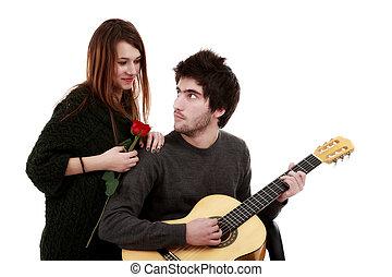 afbeelding, concept, jonge, valentijn, paar, dag