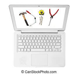 afbeelding, draagbare computer, doe het zelf, witte , gereedschap, kleur