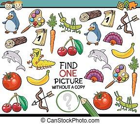 afbeelding, enkel, spel, spotprent, vinden