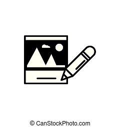afbeelding, formaat, bestand, potlood