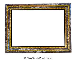 afbeelding, goud, frame, met, een, decoratieve knippatroon