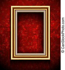 afbeelding, grunge, muur, fotokader, behang, achtergrond.
