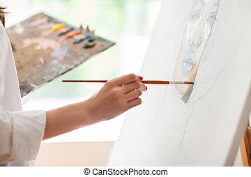 afbeelding, hand, schilderij, borstel, kunstenaar