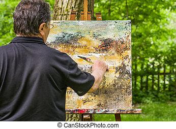 afbeelding, het abstracte schilderen, kunstenaar