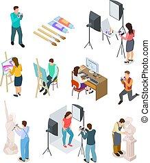 afbeelding, isometric, kunst, werkende mensen , foto,...