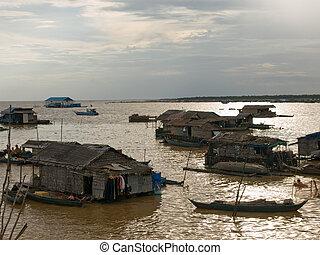 afbeelding, leven, cambodja, vietnam, peole, alledaags