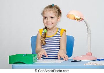 afbeelding, meisje, four-year, op, oogsten