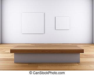 afbeelding op de muur, en, bench.