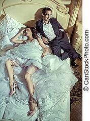 afbeelding, paar, boete, trouwfeest