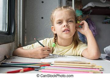 afbeelding, potloden, keek, carriag, trein, six-year, meisje, second-class, tekening
