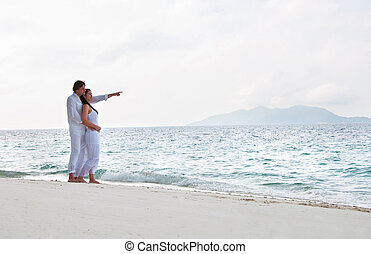 afbeelding, romantisch paar, jonge, oever, zee