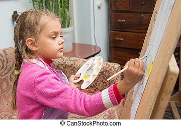 afbeelding, schildersezel, verlekkeert, kunstenaar, verven, studio, meisje