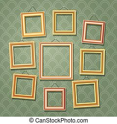 afbeelding, set, houten, fotokader, illustratie, wall., vector, groene, retro, lijstjes, spotprent, lege