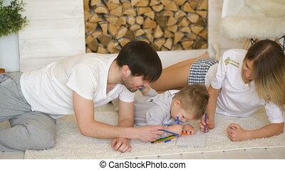 afbeelding, trekken, kamer, levend, kind, vader, portie, hun, moeder, man
