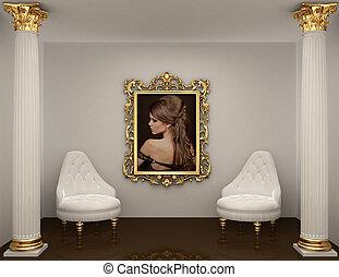 afbeelding, vrouw, goud, ruimte, muur, koninklijk, lijstjes,...