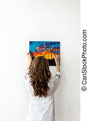 afbeelding, vrouw, het hangen van de muur, achterk bezichtiging