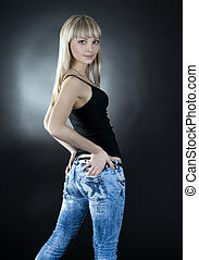 afbeelding, vrouw, op, zwarte achtergrond, mooi en gracieus,...