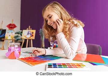 afbeelding, weinig; niet zo(veel), tafel, meisje, mooi en gracieus, schilderij