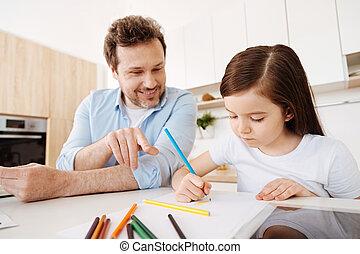 afbeelding, zijn, dochter, wijzende, vader