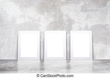 afbeelding, zolder, vloer, op, muur, beton, lege, leeg, lijstjes, witte , spotten, kamer