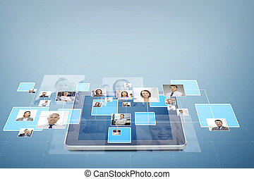 afbeeldingen, op, businesspeople, tablet pc