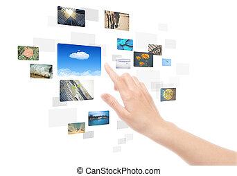 afbeeldingen, scherm, vrijstaand, hand, beroeren, interface, gebruik