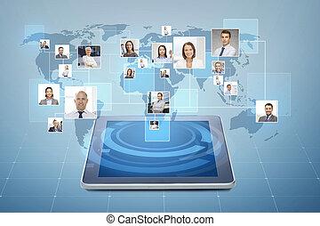 afbeeldingen, van, businesspeople, op, tablet pc