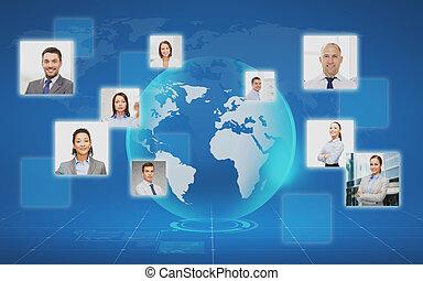 afbeeldingen, van, businesspeople, op, wereldkaart