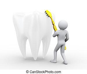 afborstelen, groot, 3d, man, tand