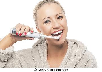 afborstelen, haar, dentaal, wi, concept:happy, hygiëne, blonde , teeth, het glimlachen