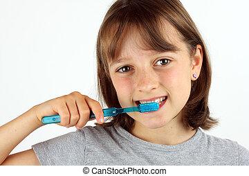 afborstelen, meisje, jonge, haar, teeth