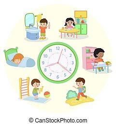 afborstelen, op, set, geitjes, illustration., activiteiten, school, teeth, schema, kind eten, alledaags, het ontwaken, slapende, gaan, vector, routine., exercises., spandoek, kinderen, leren