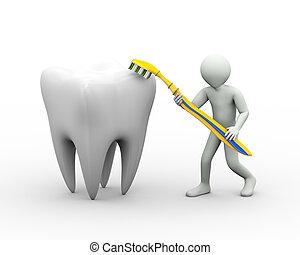 afborstelen, tand, 3d, man