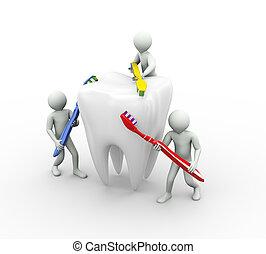 afborstelen, tand, 3d, mensen