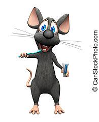 afborstelen, zijn, het glimlachen, muis, spotprent, teeth.