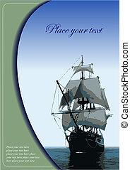 afdækket, by, brochure, hos, gamle, sejle fartøj