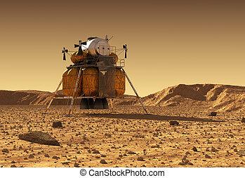 afdaling, ruimte, interplanetary, module, planeet, station, oppervlakte, mars