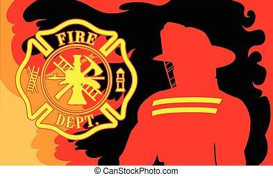 afdeling, brandweerman, vuur
