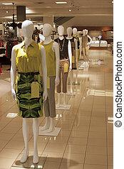 afdeling, mannequins, winkel