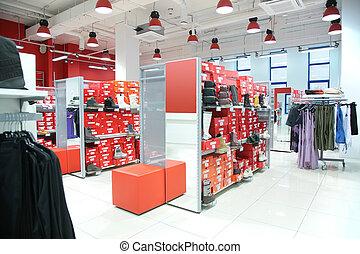 afdeling, van, buitenst, kleding, en, foot-wear, in, winkel