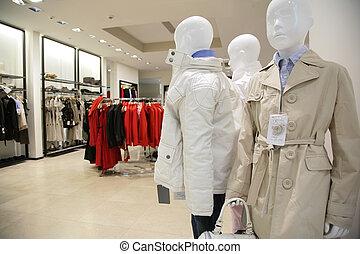 afdeling, van, kinderen, bovenleer, kleren, in, winkel