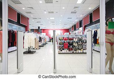 afdeling, van, vrouwlijk, ondergoed, in, winkel