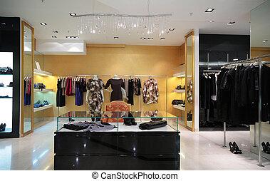 afdelingen, i, kvindelig, beklæde, ind, shop