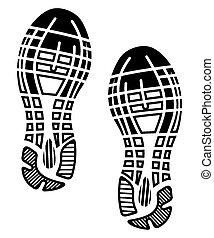 afdruk, -, zolen, gymschoen, schoentjes
