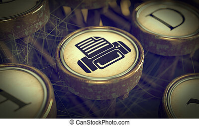 afdrukken, achtergrond., grunge, key., typemachine