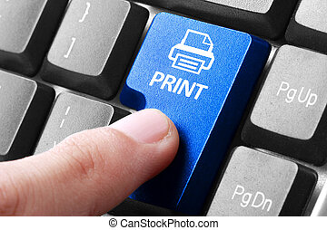 afdrukken, drukken, knoop, toetsenbord, hand