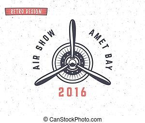 afdrukken, elements., logotype., ontwerp, vliegtuig,...