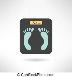 afdrukken, flat., schalen, voetjes, vector, digitale