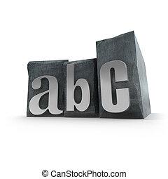 afdrukken, gevallen, alfabet, brief