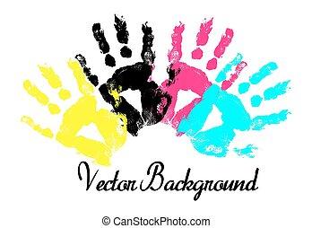 afdrukken, grunge, kleurrijke, handen